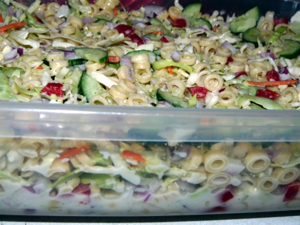 Place salad in container and cover. Refrigerate for several hours, stirring occasionally to marinate well.