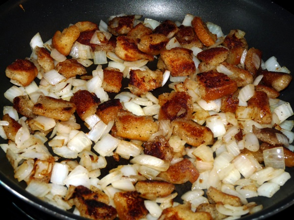 Add onions and continue frying until they are brown around the edges