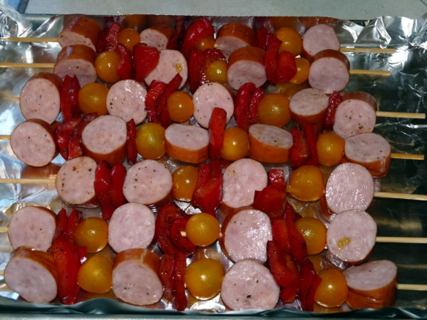 Place kabobs on a foil covered baking sheet. Place in preheated 400°F oven and roast for 20 minutes. Roast for additional time until desired doneness.