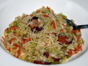 Risotto with Savoy Cabbage and Sausage