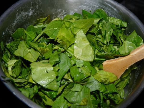 Chop spinach and add to potatoes