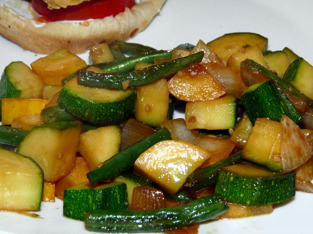 Teriyaki Summer Squash and Green Bean Stir Fry