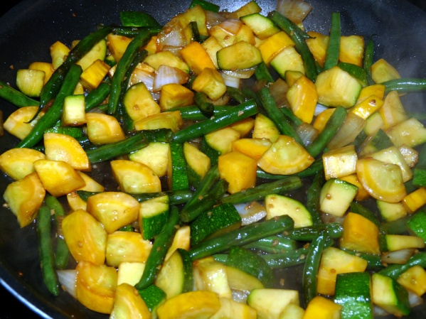 When teriyaki sauce is absorbed and squash is golden, taste test for seasoning and serve hot.