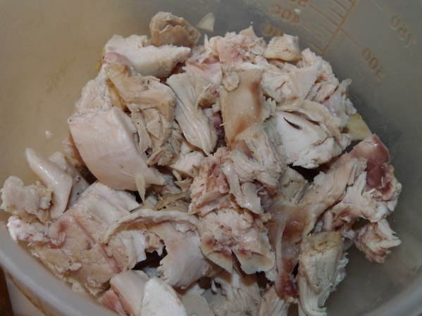Chop roasted chicken and add to pot.