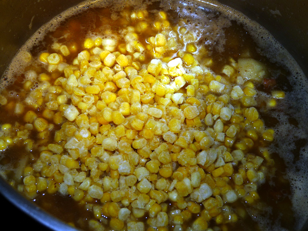 Add frozen or canned corn to soup.