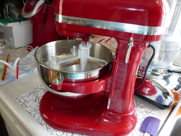 My new stand mixer, red to match my other kitchen appliances!