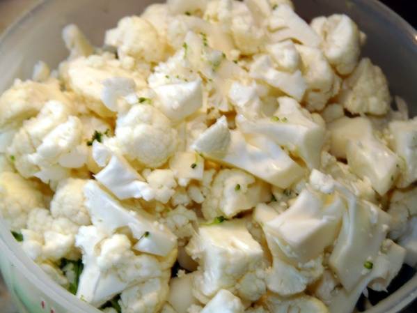 Chop 2 cups cauliflower into smaller florets.