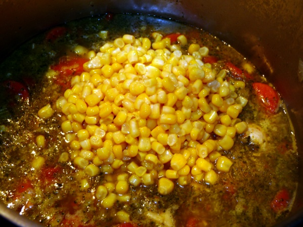 Add corn and liquid to pot.