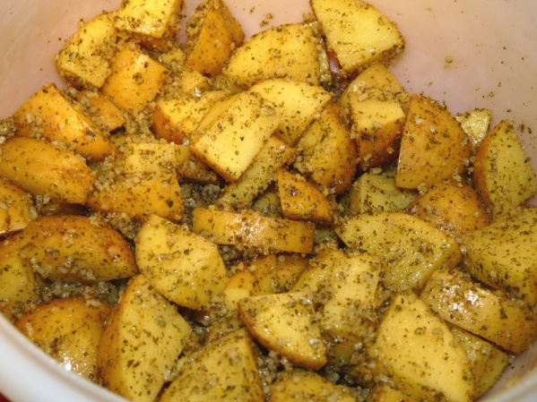 Drizzle potatoes with oil and toss to coat. Add seasonings and toss again to coat.