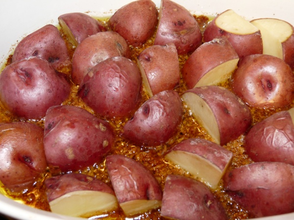 Bake at 400°F for 30 minutes or until potatoes are fork tender.