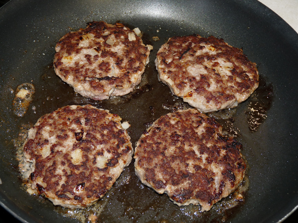 Flip and brown on second side. Layer patties in a circle, slightly overlapping, on the bottom of the lined crockpot.