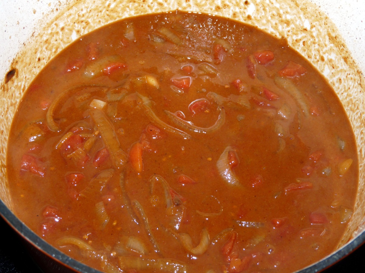 Stir in tomatoes, broth, bay leaf. salt and pepper. Cook until it begins to bubble. Take care to scrape the tasty brown bits from the bottom of the pot.