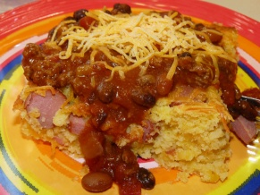 Chili Corn Dog Casserole
