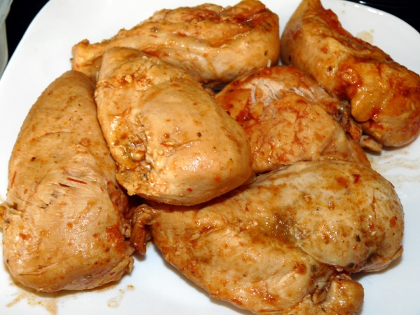 Remove chicken breasts to a platter.