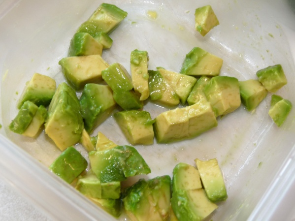 Dice half an avocado and toss with lime juice.