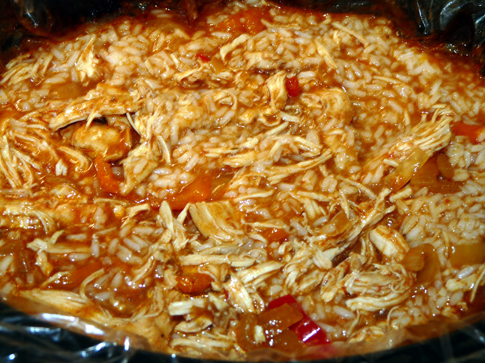 I stirred the rice into the juices along with the onions and peppers.