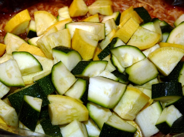Add summer squash and zucchini. Stir well and let simmer for 30 minutes to heat the vegetables through.