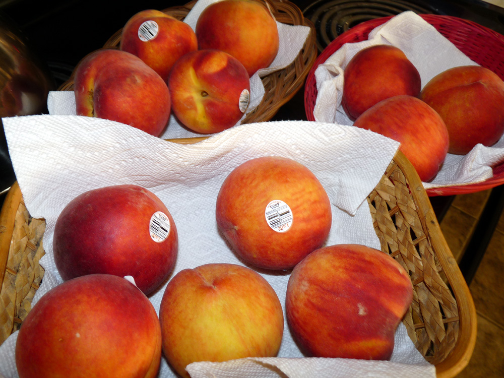 Use fresh, ripe peaches. Blanch to help remove skins then dice.
