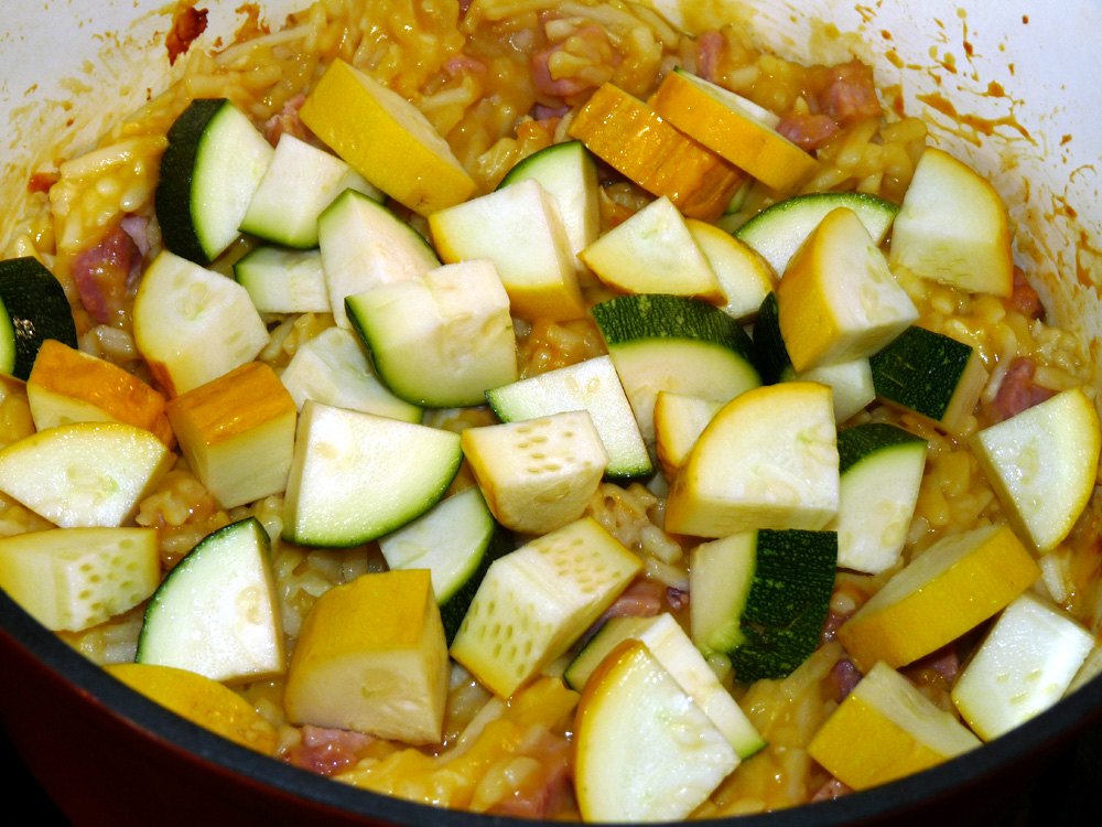 After one hour add diced zucchini and summer squash and stir well. Bake for 30 more minutes.