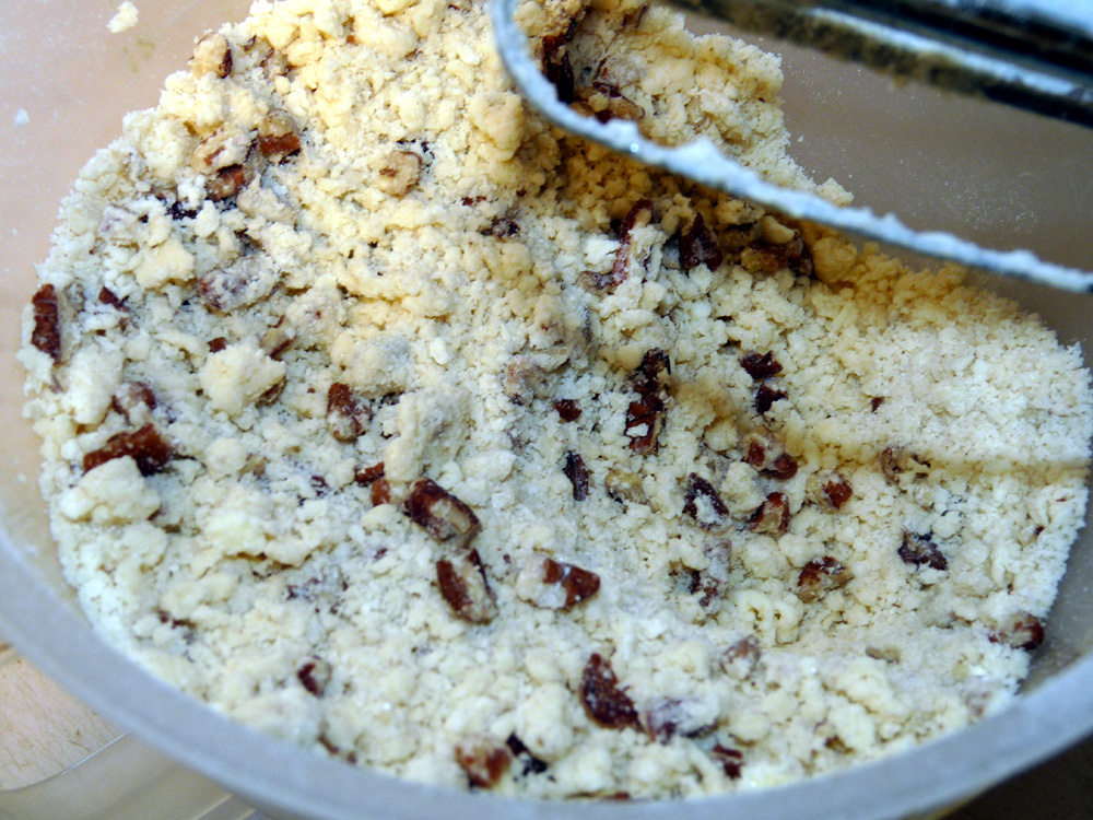Mix crust with electric mixer until it resembles coarse crumbs.