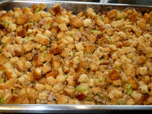 Spread stuffing in a greased or sprayed pan. I used a 15 x 11-in pan for maximum browning. You can also use a 9x13-in pan.