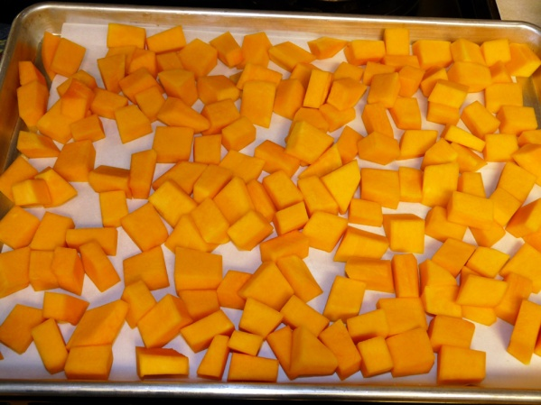Slice, remove seeds, peel and cube squash. Lay out in a single layer on a parchment paper lined sheet pan. Freeze.