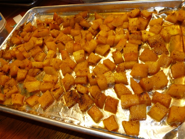 Spread squash on a foil covered sheet pan and sprinkle with extra cinnamon if desired. Roast at 400°F until fork tender, about 20 minutes. If extra browning is desired, broil until further browned.