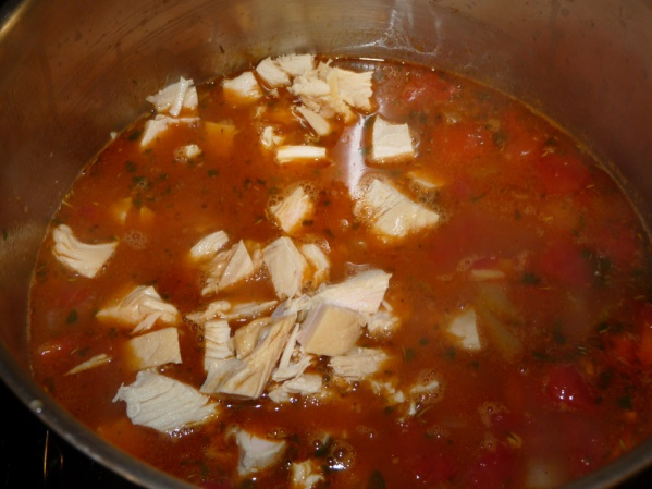 Add turkey and spinach and stir well. Simmer for several minutes until turkey is heated and spinach is wilted. Tate test for seasoning and add salt and pepper to taste.