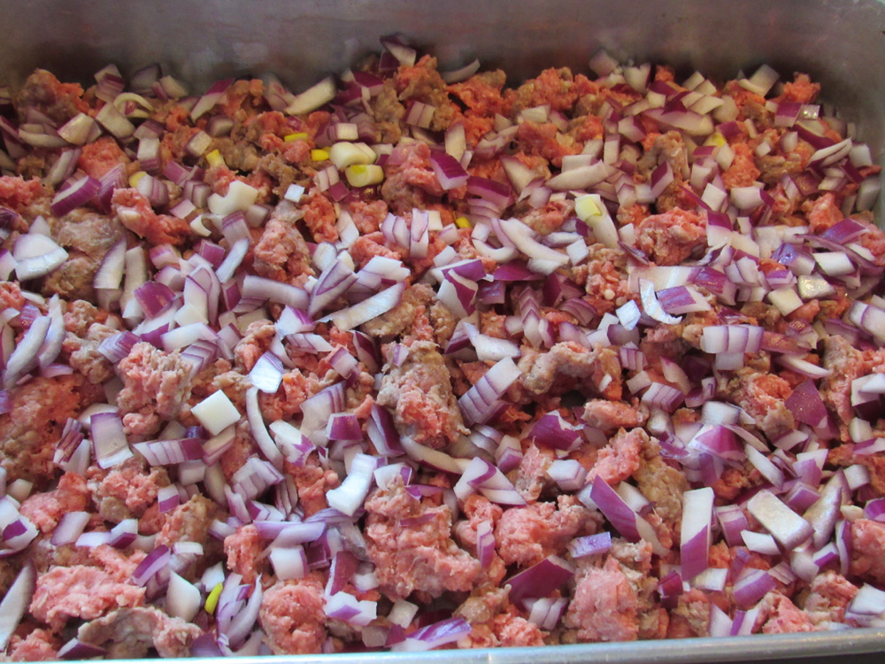 Break up ground beef into small pieces and scatter over the bottom of a 9x13-in baking dish. Scatter diced onions over the top of the beef Salt and pepper well..