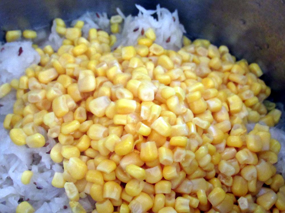 Dump corn into pot.
