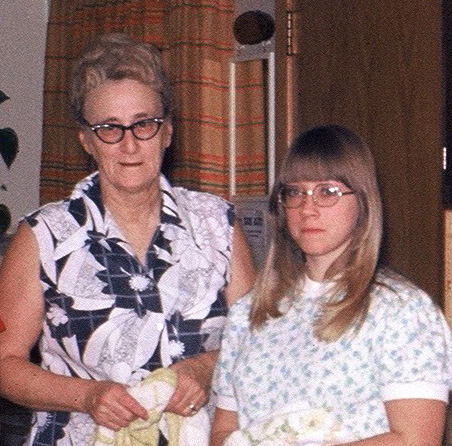 Grandma Thompson and myself in her kitchen, about 1973